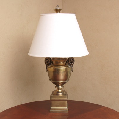 Chapman Brass Urn Shaped Table Lamp with Rams Head Detail, Late 20th Century