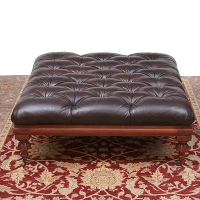 Henredon Regency Style Brown Tufted Leather Cocktail Ottoman
