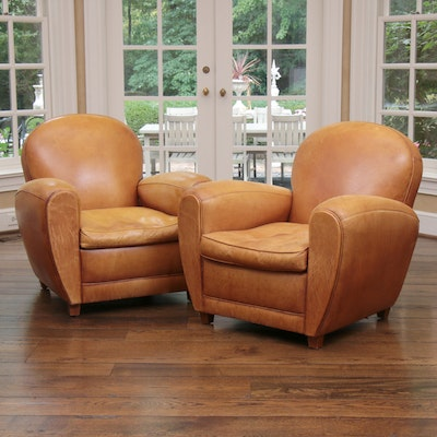 Distressed Leather Armchairs with Nailhead Trim by Centners Design