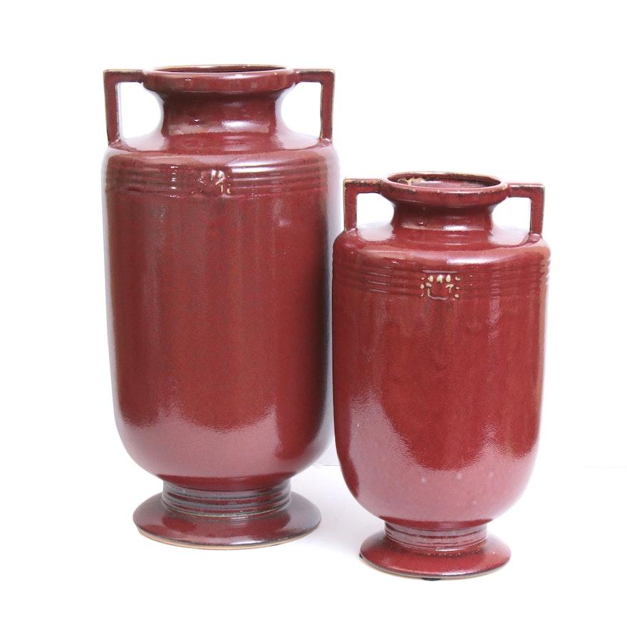 Oxblood Ceramic Urn Shape Vases, Contemporary