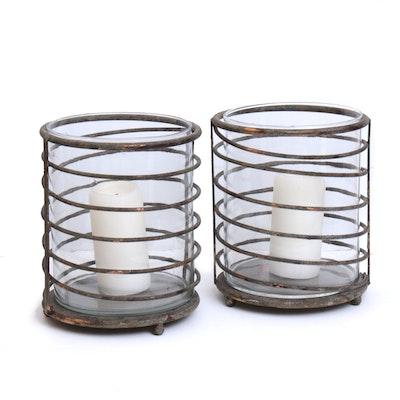 Pair of Distressed Metal and Glass Hurricane Candle Holders, Contemporary