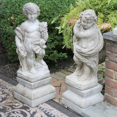 Pair of Neoclassical Style Concrete Cherub Outdoor Ornaments