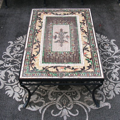 Frontgate Glass Tile Mosaic Top Metal Patio Coffee Table, Contemporary