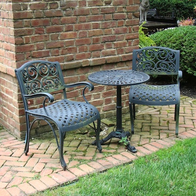 Smith & Hawken Painted Metal Cafe Table with Two Armchairs