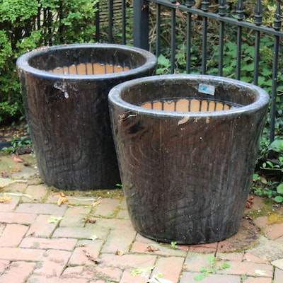 Pair of Micheal Carr Desgins Texture Drip Glazed Earthenware Planters