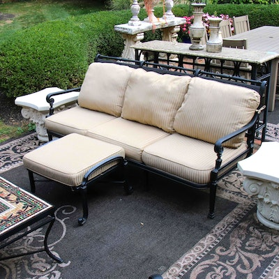 Frontgate Painted Metal Patio Sofa with Ottoman, Contemporary