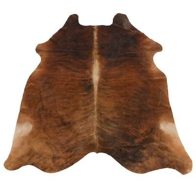 5'10 x 6' Brown Brindle Cowhide Throw Rug