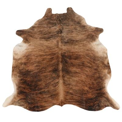 5'6 x 6'2 Brown Brindle Cowhide Area Rug