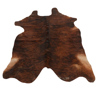 6'0 x  6'6 Brown Brindle Natural Cowhide Area Rug