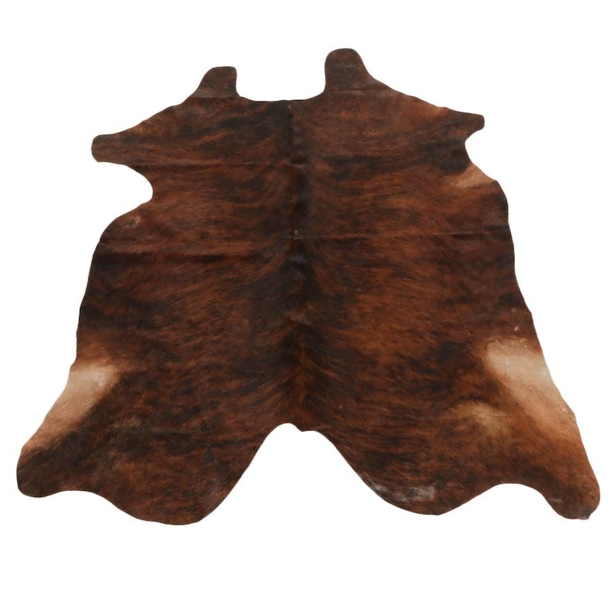 6'0 x  6'6 Brown Brindle Natural Cowhide Area Rug