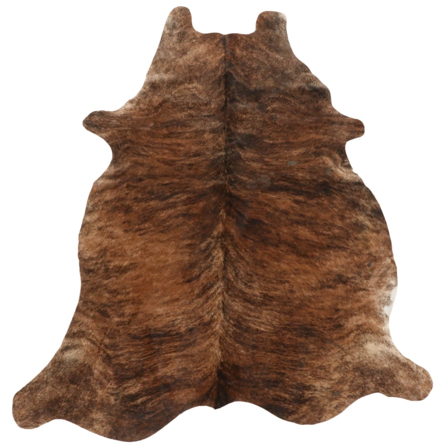 5'2 x 6'7 Brown Brindle Natural Cowhide Area Rug