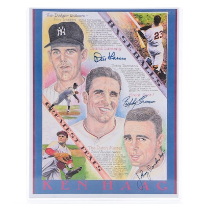 "Don Larsen, Bobby Thomson and Johnny Vander Meer Signed ""Greatest Feats"" Print"