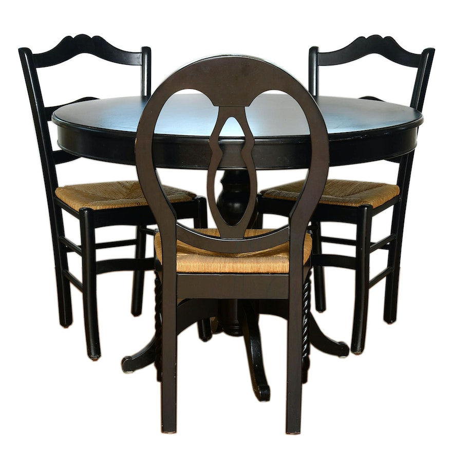 Ballard Designs Ebonized French Country Style Dining Table And Three Chairs Ebth