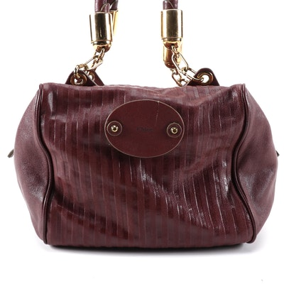 Chloé Shoulder Bag in Burgundy Grained Leather