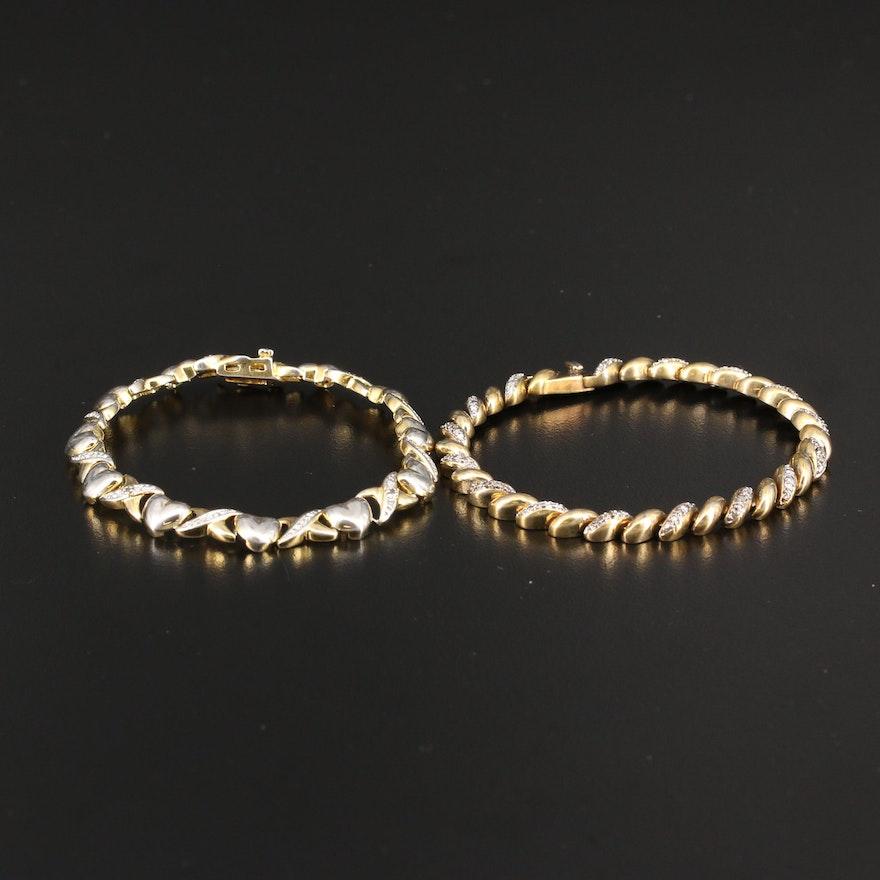 Sterling Silver Diamond Crossover and Heart Link Bracelets
