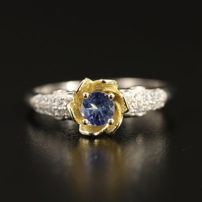 Sterling Silver Tanzanite and Cubic Zirconia Floral Ring