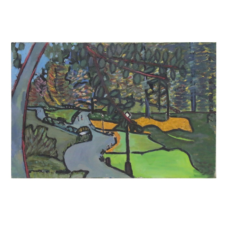 Jerald Mironov Oil Painting of Abstract Scenic Park, 20th Century