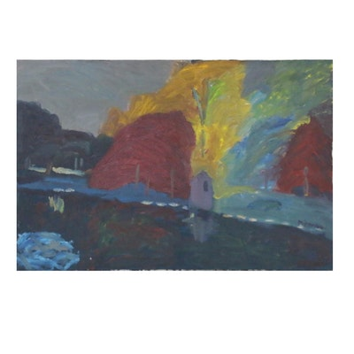 Jerald Mironov Oil Painting of Abstract Nighttime Landscape, 20th Century