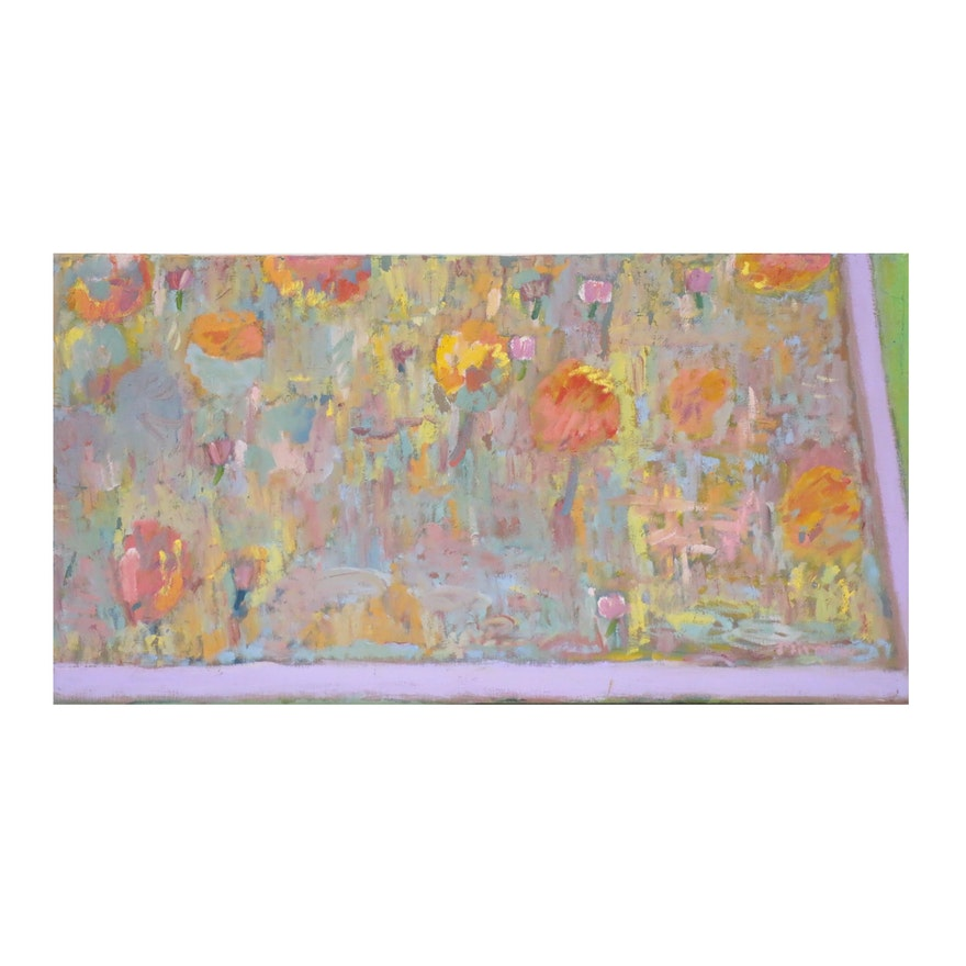 Jerald Mironov Abstract Oil Painting, 20th Century