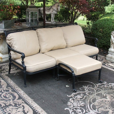 Frontgate Black Painted Metal Patio Sofa with Ottoman, Contemporary