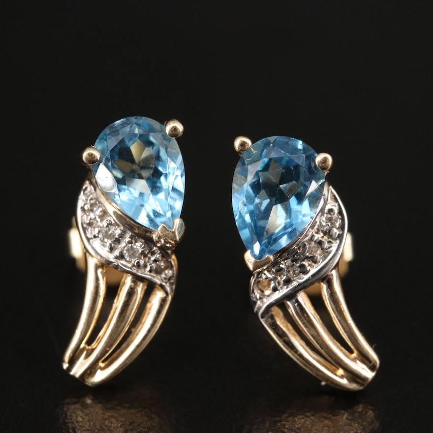 14K Topaz and Diamond Stud Earrings