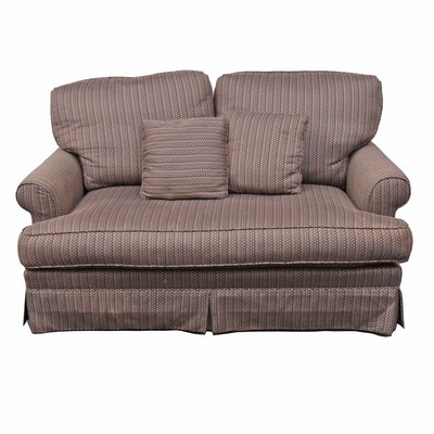 Geometric Tweed Loveseat Sofa with Matching Throw Pillows