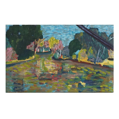 Jerald Mironov Oil Painting of Fauvist Style Landscape, Late 20th Century
