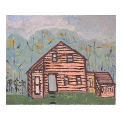 Jerald Mironov Oil Painting of Brick House, 20th Century