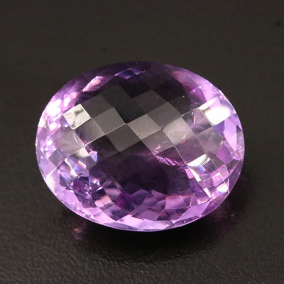 Loose 33.03 CT Oval Checkerboard Faceted Amethyst