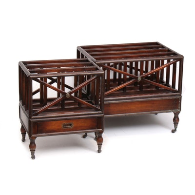 Two George III Style Mahogany-Stained Canterburies, 20th Century