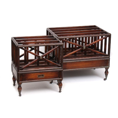 English Mahogany Georgian Style Canterbury Magazine Racks, Early to Mid 20th C.