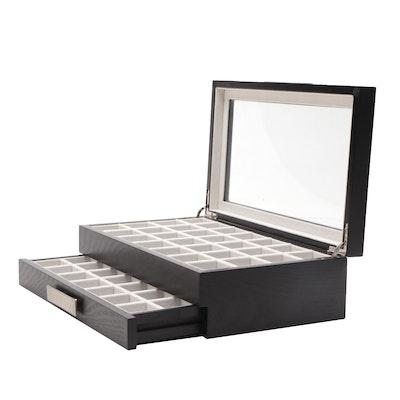 Ebonized Wood Jewelry Organizer Box with Glass Top and Lower Drawer