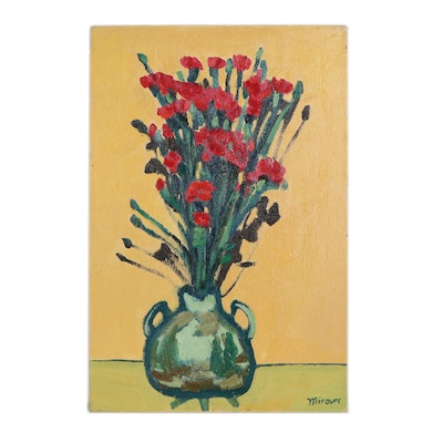 Jerald Mironov Floral Still Life Oil Painting, Late 20th Century