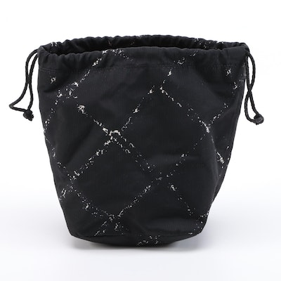 Chanel Travel Line Drawstring Pouch in Black and White Jacquard Nylon