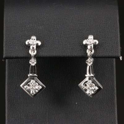 14K Diamond Flower Motif Dangle Earrings