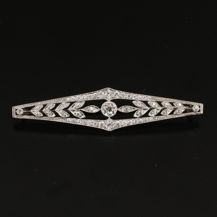 Vintage Platinum 1.50 CTW Diamond Foliate Motif Brooch with 14K Catch