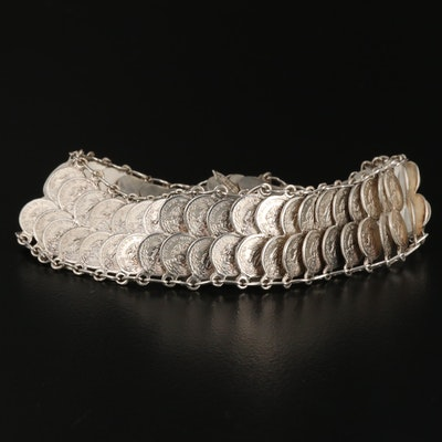 Sterling Silver Bracelet with Replica Mexican Peso Coins
