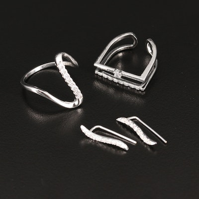 Sterling Silver Cubic Zirconia Minimalist Rings and Climber Earrings