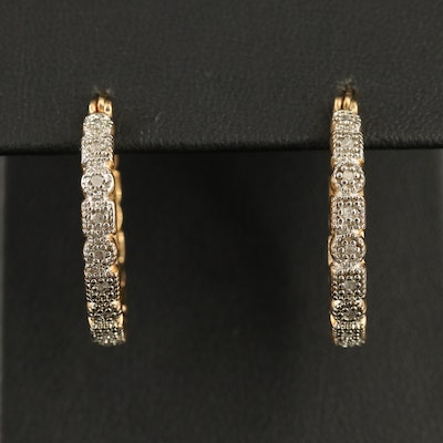 Sterling Silver and Diamond Hoop Earrings with Geometric Shape Motif