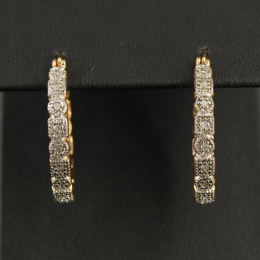 Sterling Silver and Diamond Hoop Earrings with Geometric Shape Motif