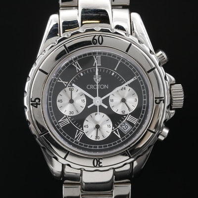 "Croton ""Chronograph"" Stainless Steel Quartz Wristwatch"
