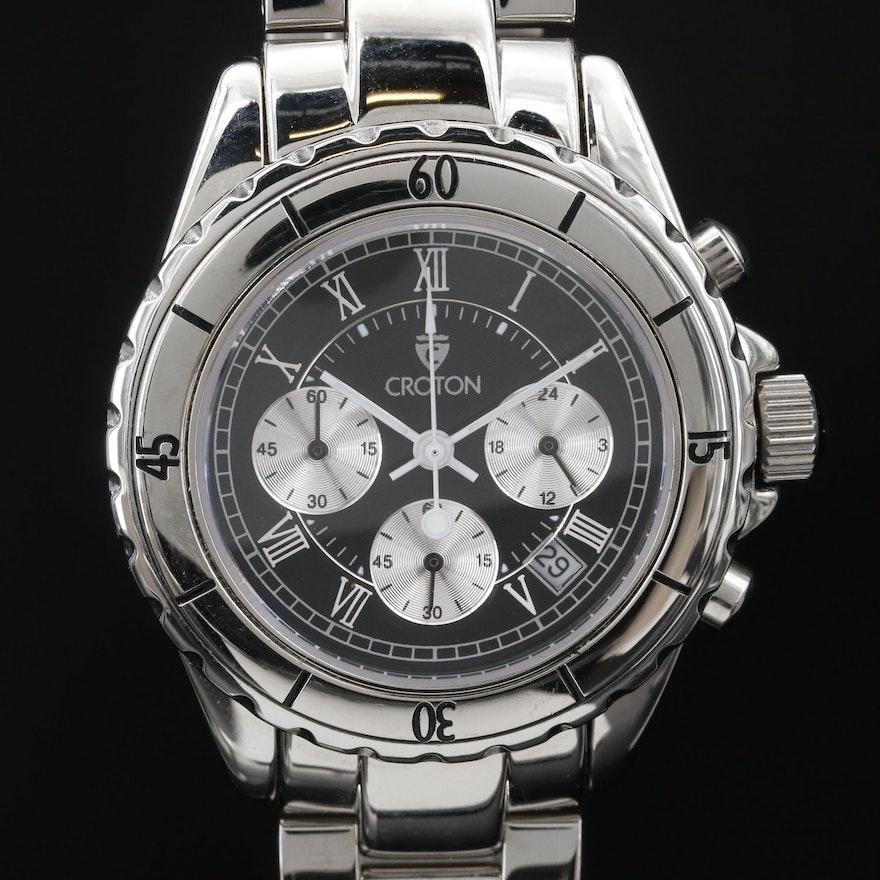 "Croton ""Chronograph"" Stainless Steel Quartz Wristwatch"
