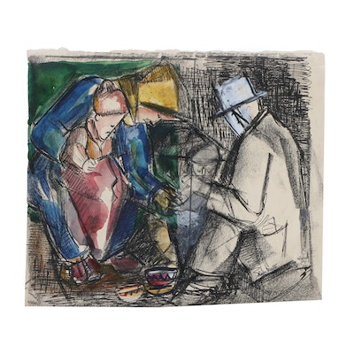 Helen Malta Modernist Mixed Media Drawing of Figures, Mid 20th Century