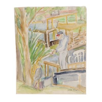 Yolanda Fusco Watercolor Painting of Marine Landscape with Figure