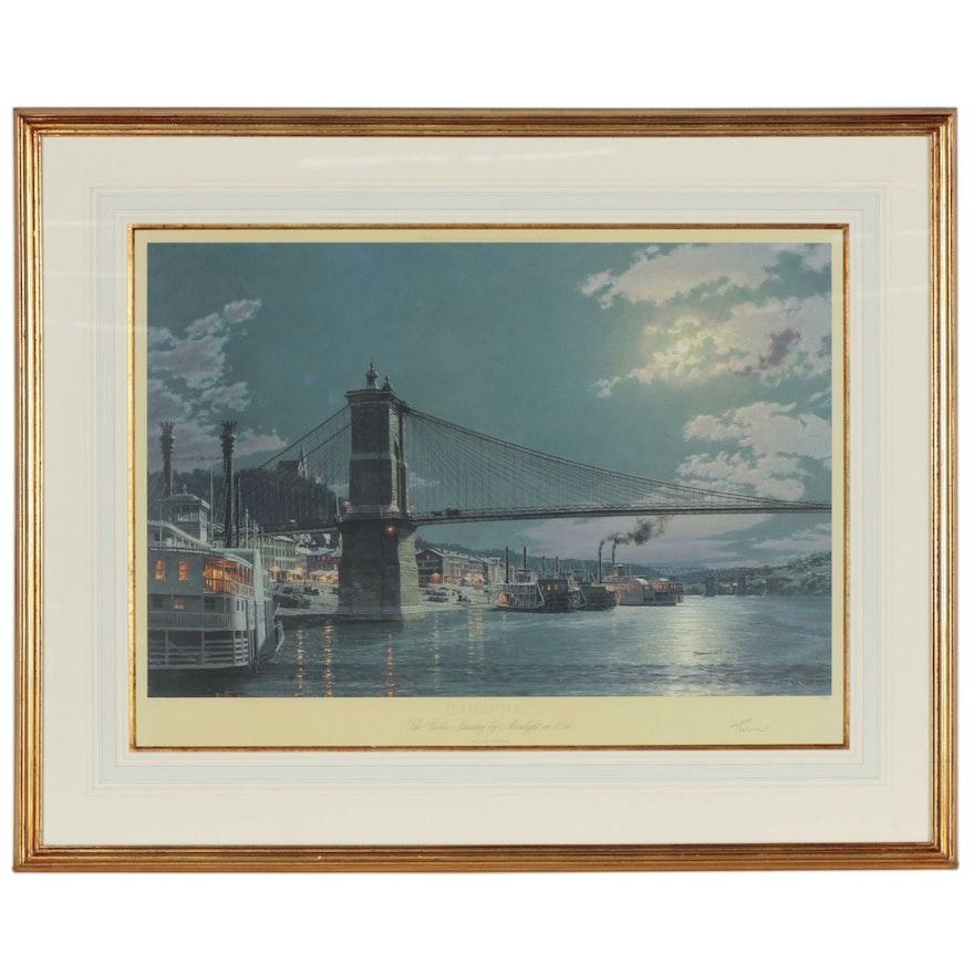 """John Stobart Offset Lithograph """"Cincinnati"""", 2001"""