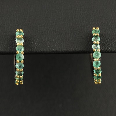Sterling Silver Emerald Hinged Hoop Earrings