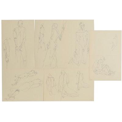 John Tuska Pen and Ink Figure Drawings, Late 20th Century
