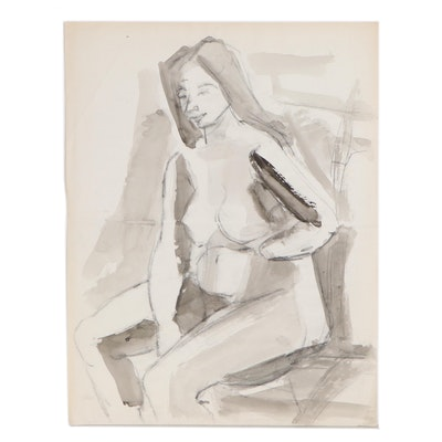 Yolanda Fusco Charcoal and Ink Wash Figure Painting