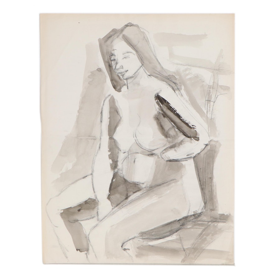 Yolanda Fusco Charcoal and Ink Wash Figure Painting