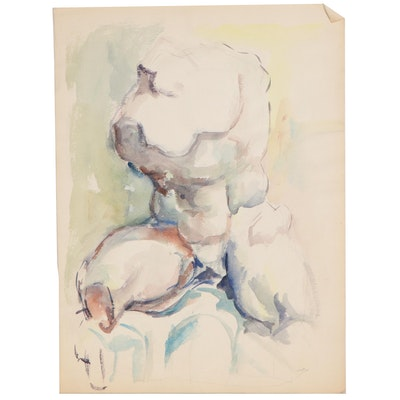 Yolanda Fusco Watercolor Figure Painting of Torso